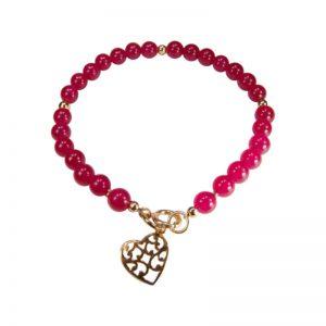 Rotes Edelsteinarmband mit Herz
