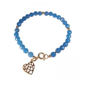 Blaues Edelstein-Armband mit Herz