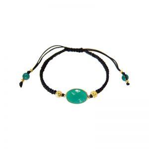 Schwarzes Armband mit grünem Chalzedon