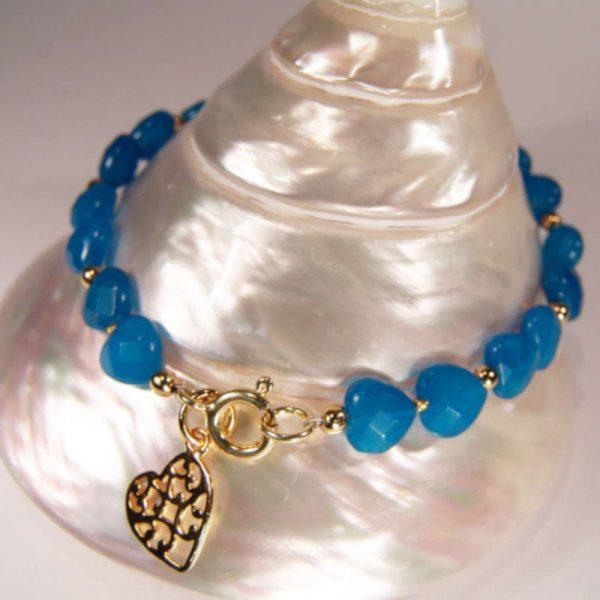 Blaues Jadearmband mit Silberherz vergoldet