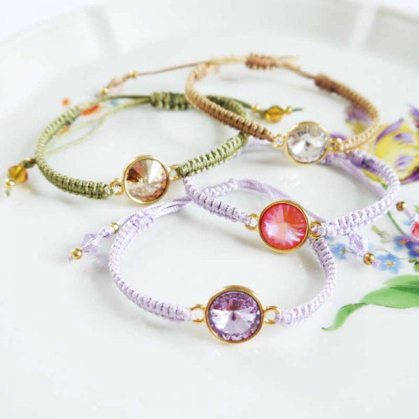 Makramee-Armband mit Swarovski Kristallen - Varianten