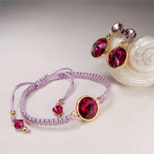 Armband mit Kristall in Fuchsia und passende Ohrringe