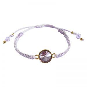 Makramee-Armband mit Swarovski Kristallen in violett von Perlotte Schmuck