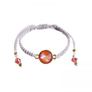 Makramee-Armband mit Swarovski Kristallen in orange-violett
