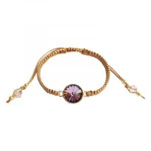 Makramee-Armband mit Kristall in Altrosa