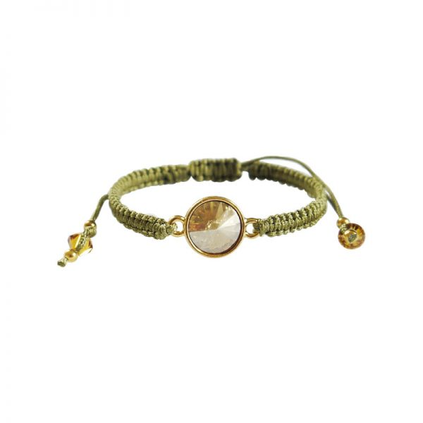 Makramee-Armband mit Swarovski Kristallen in champagner-oliv