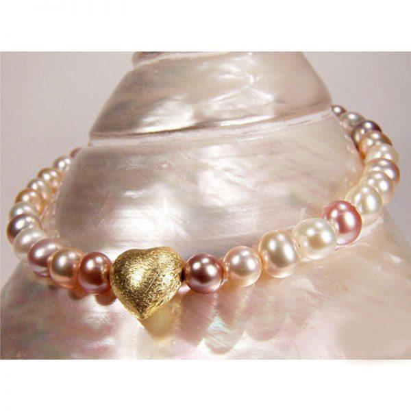 Multicolor-Perlenarmband mit Herz