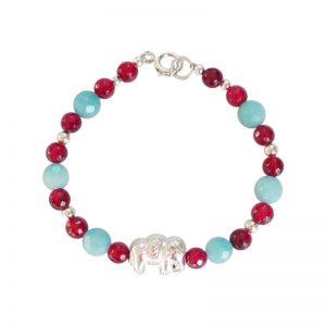 Elefanten-Armband Türkis-Rot