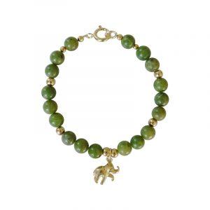 Armband mit Elefanten-Charm und grüner Jade