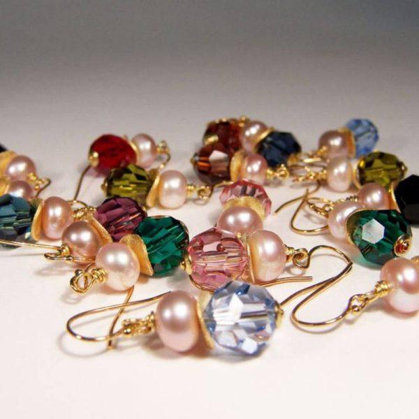 Ohrhänger mit Perle und Swarovski Kristallen - Varianten