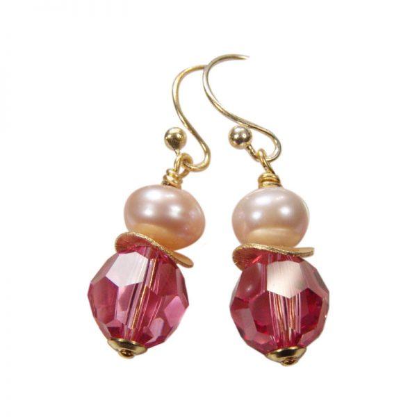 Ohrhänger mit Perle und Kristall in Pink