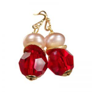 Ohrringe Perle und Kristall Rot