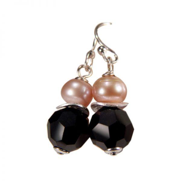 Ohrringe Perle und Kristall Schwarz
