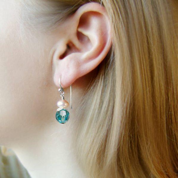 Ohrhänger mit Perle und Kristall in Türkis - Variante in Silber