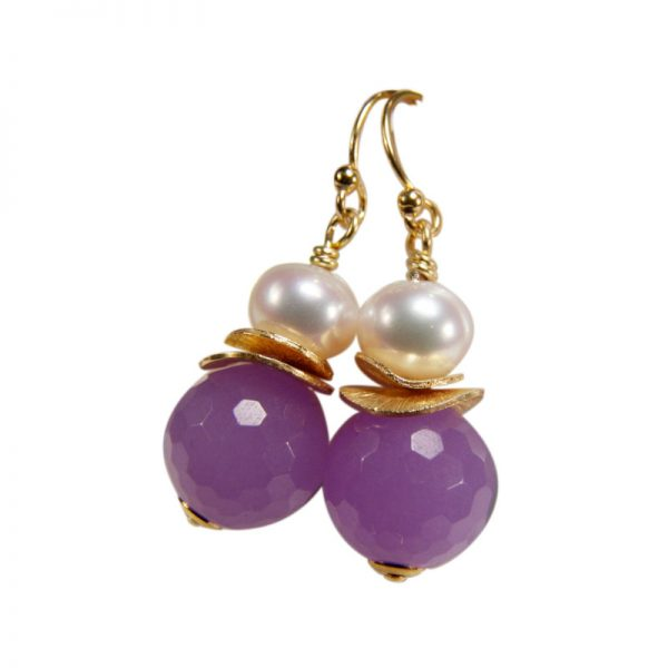 Ohrring mit violetter Jade und Perle