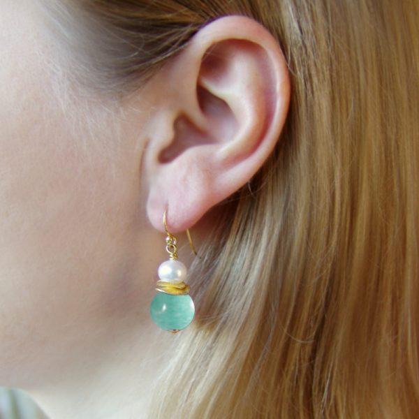 Ohrhänger mit Amazonit und Perle