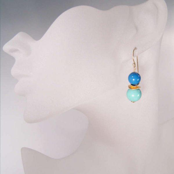 Colour Blocking Ohrringe in Türkis-Blau