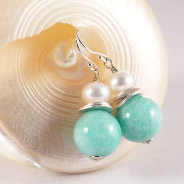 Klassische Ohrhänger mit Amazonit - Version in Silber