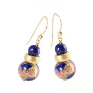Ohrringe mit Lapislazuli und Muranoglas-Perle
