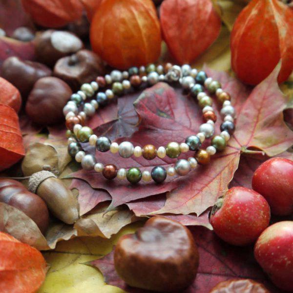 Perlenkette grau-braun-grün