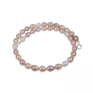 Multicolor-Perlenkette mit ovalen Perlen