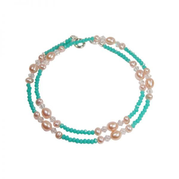 Filigrane Halskette in Türkis mit Perlen