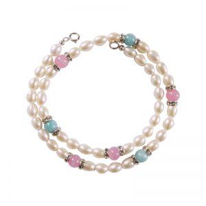 Perlenkette mit rosa Antikperlen und hellblauem Angelit