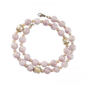 Kette mit rosa Kunzit, Perlen und Silber