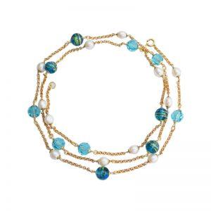 Longkette mit Murano-Glasperlen in Türkis und Gold