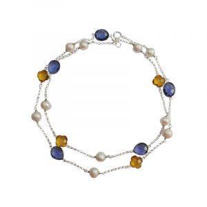 Edelsteinlongkette mit Perlen