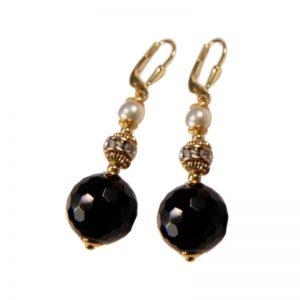 Ohrhänger mit schwarzem Onyx und Perle
