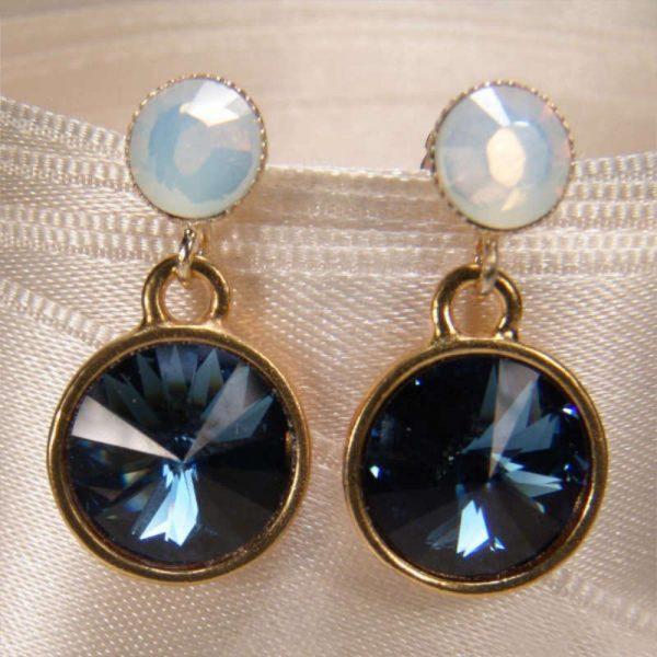 Kristall-Ohrringe Blau-Weiß