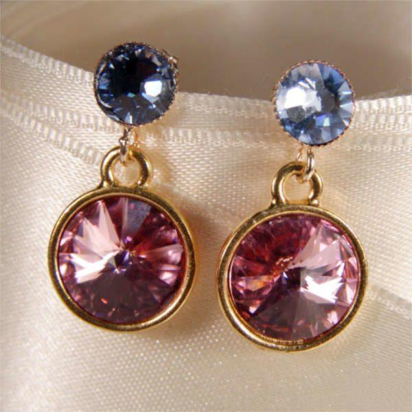 Glitzernde Kristall-Ohrringe Rosa-Blau