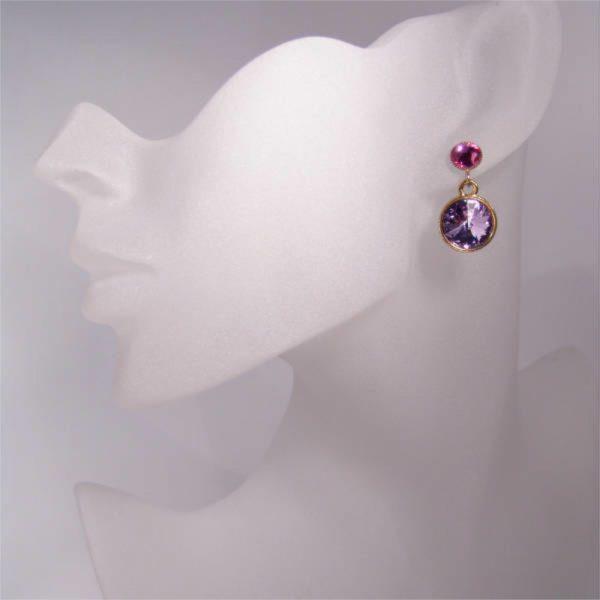 Glitzernde Kristall-Ohrringe Violett-Fuchsia