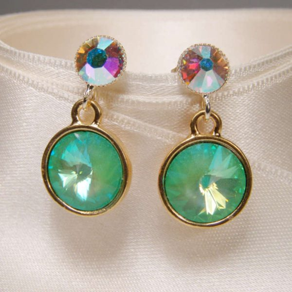Kristall-Ohrringe Türkis-Opalschimmer