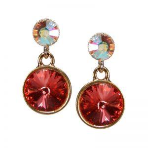 Kristallohrringe Lachs Opal schimmer