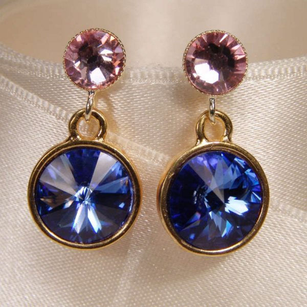 Kristallohrringe in Blau-Rosa