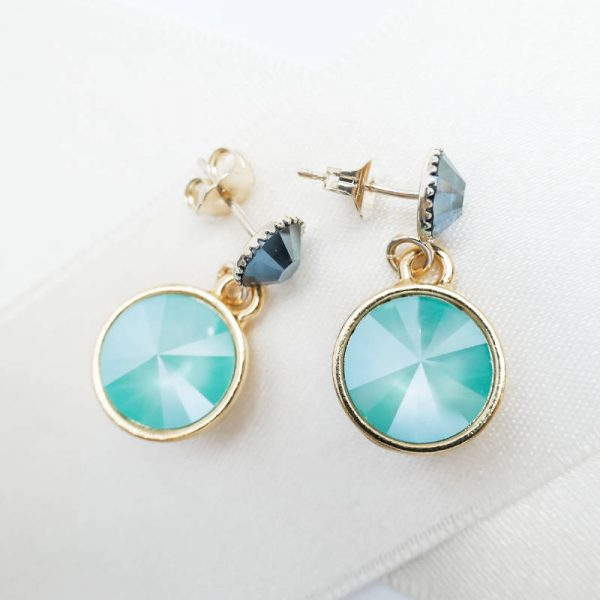Kristall Ohrring in Türkis und Blau