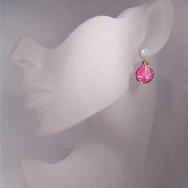 Kristallohrringe in Pink und Weiß
