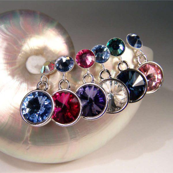 Bunte Kristall-Ohrstecker Varianten
