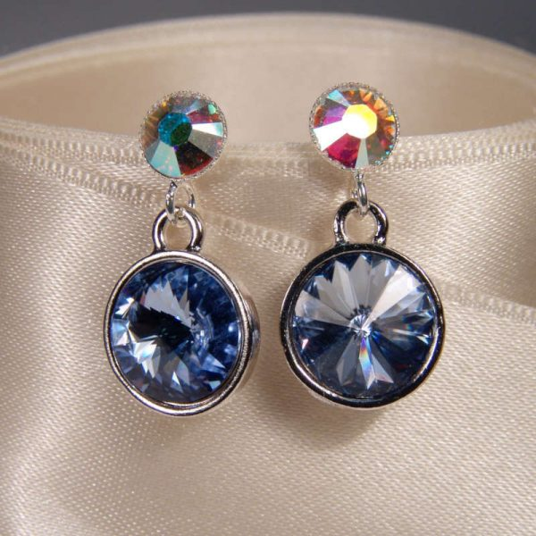 Glitzerohrringe Blau-Opalschimmer