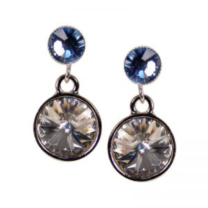 Silberne Kristall-Ohrringe in Blau-Weiss