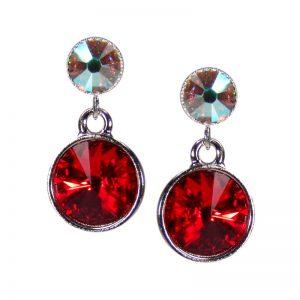 Silberne Kristall-Ohrringe Rot-Crystal