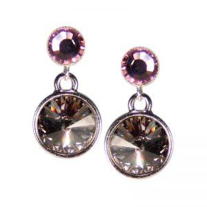 Kristallohrringe in Grau und Violett