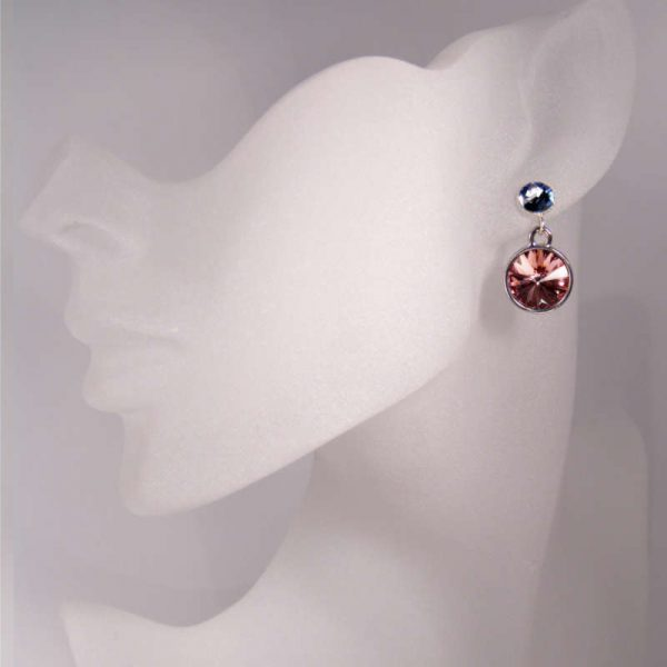 Silberne Kristall-Ohrringe in Rosa-Blau