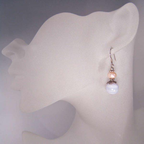 Silber-Ohrringe mit Edelstein und Chalzedon