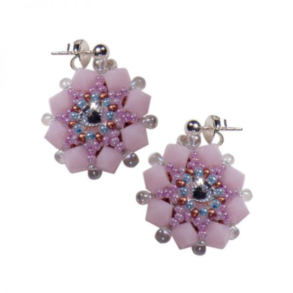 Ohrringe Perlenblumen Rosa