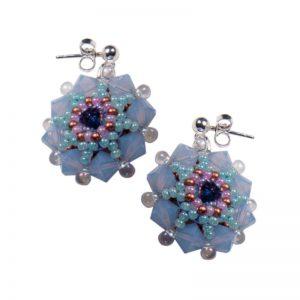 Ohrringe Perlenblumen Hellblau