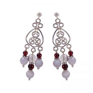 Edelsteinchandeliers in Silber mit Chalzedon