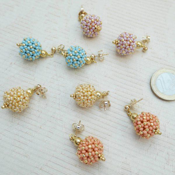 Ohrringe kleine Rocailles-Kugeln in Pastellfarben